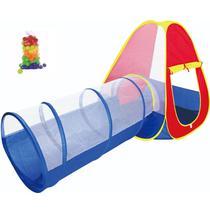 Barraca Infantil Cabana Toca Tunel 2 em 1 Tipo Piscina com 50 Bolinhas Bebê Crianças Importway BW065 -