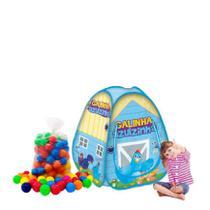 Barraca infantil Pop Up Galinha Azulzinha com 100 bolinhas coloridas - Natalplast