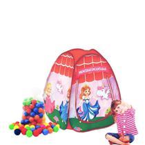 Barraca infantil Pop Up Princesas Encantadas com 100 bolinhas coloridas - Natalplast