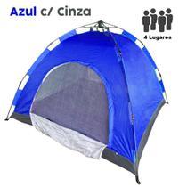 Barraca Monta Sozinha Automatica 4 Lugares Acampar Camping Azul com Cinza - Braslu