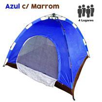 Barraca Monta Sozinha Automatica 4 Lugares Acampar Camping Azul com Marrom - Braslu