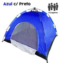 Barraca Monta Sozinha Automatica 4 Lugares Acampar Camping Azul com Preto - Braslu