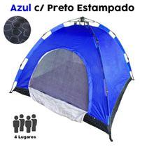 Barraca Monta Sozinha Automatica 4 Lugares Acampar Camping Azul com Preto Estampado - Braslu