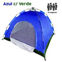 Barraca Monta Sozinha Automatica 4 Lugares Acampar Camping Azul com Verde - Braslu