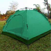 Barraca Monta Sozinha Automatica 4 Lugares Acampar Camping Verde com Fundo Verde - Braslu