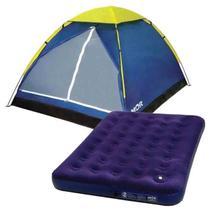 barraca mor iglu camping 3 lugares + colchao casal mor c/ inflador -