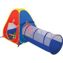 Barraca Toca Infantil 2 Em 1 Com Túnel + 60 Bolinhas Braskit -