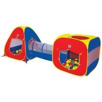 Barraca Toca Infantil com Tunel Ball 3 Em 1 C/ 80 Bolinhas 4600 - Braskit -