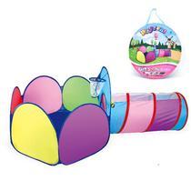 Barraquinha castelo infantil com tunel criança 3 em 1 tenda com alvo basquete e cabana menino menina - Makeda