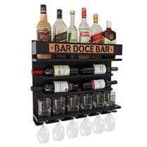 Barzinho Adega Parede - Bar Doce Bar - 60 x 51 Preto - Co2Beer