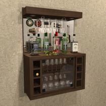Barzinho Cristaleira com  Adega Para 8 Garrafas e Porta Taça com Iluminação em LED - BAR02 - Camarim Móveis
