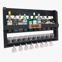 Barzinho de Parede Adega Bar Para 10 Garrafas Copos e Taças Preto - Palleter -