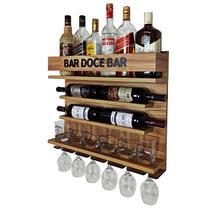 Barzinho e Adega de Parede vinho com porta taças - Bar Doce Bar - 60 x 51 - cor Nogueira - Co2Beer