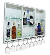 Barzinho Para Sala Aparador De Parede Adega Vinhos Bebidas Madeira MDF 100x70cm Branco - Soul Fins
