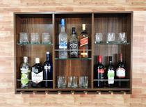 Barzinho Para Sala Aparador De Parede Adega Vinhos Bebidas Madeira MDF 100x70cm Imbuia - Adegashow