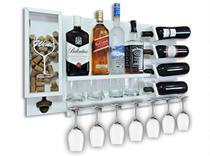 Barzinho Para Sala Aparador De Parede Adega Vinhos Bebidas Madeira MDF 84x45cm Branco - Soul Fins