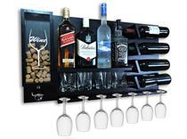 Barzinho Para Sala Aparador De Parede Adega Vinhos Bebidas Madeira MDF 84x45cm Preto - Soul Fins