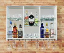 Barzinho Para Sala Aparador De Parede Fundo Espelhado Adega Vinhos Bebidas Madeira 100x70cm Branco - Adegashow