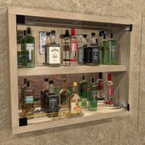 Barzinho Tipo Cristaleira, com Iluminação espelho e porta de vidro - Bar19 CARVALHO - Camarim Móveis