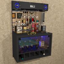 """Barzinho """" TOP """" COM CAIXA DE SOM 5"""" - 6 adegas, cristaleira, Iluminação LED RGB - Bar23 PRETO - Camarim Móveis"""