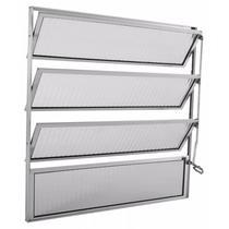 Basculante de Alumínio 4 Folhas 1 Fixa Vidro Canelado Integral Econ 80cmx40cmx1,7cm Brilhante -