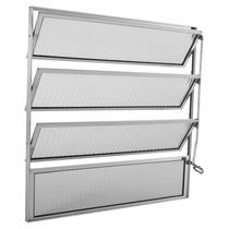 Basculante de Alumínio 4 Folhas 1 Fixa Vidro Canelado Integral Econ 80cmx80cmx1,7cm Brilhante -