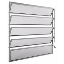 Basculante de Alumínio 5 Folhas 1 Fixa Vidro Mini Boreal Integral Econ 100cm x 80cmx2,6cm Brilhante -