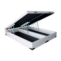 Base Box Baú Bipartido Queen Sommier Moflex Sintético Branco 46x158x198 -
