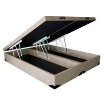 Base Box Baú Blindado Casal Bipartido AColchoes Suede Bege 41x138x188 -