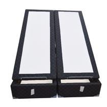 Base Box Baú Blindado King Bipartido AColchoes Poliéster Preto 49x193x203 -