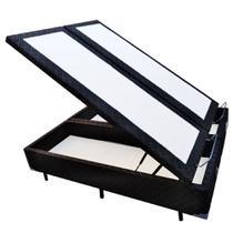 Base Box Baú Blindado Queen Bipartido AColchoes Poliéster Preto 41x158x198 -