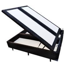 Base Box Baú Blindado Queen Bipartido AColchoes Poliéster Preto 49x158x198 -