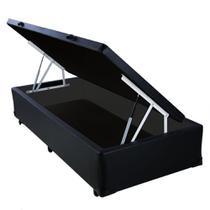 Base Box Baú Blindado Solteiro AColchoes Sintético Preto 41x88x188 -