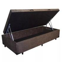 Base Box Baú Blindado Solteiro AColchoes Suede Marrom 41x78x188 -