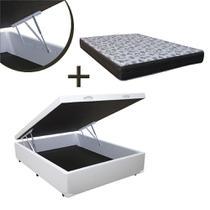 Base Box Baú Casal Sintético Branco (32x138x188) + Colchão de Espuma Iso D33 Casal (18x138x188) Ortobom -