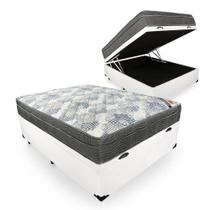 Base Box Baú Casal Sintético Branco + Colchão Ortobom ISO Superpocket 62x138x188 -