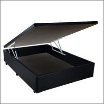 Base Box Baú Casal SP Móveis Sintético Preto - 45x138x188 -