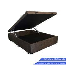 Base Box Baú Casal Suede Marrom (37x138x188) - Sofamix