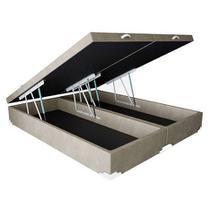 Base Box Baú King Bipartido SP Móveis Suede Bege - 45x198x203 -
