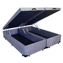 Base Box Baú Queen Bipartido AColchões Suede Cinza 41x158x198 - Acolchoes