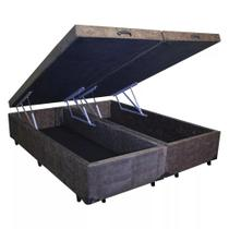 Base Box Baú Queen Bipartido AColchões Suede Marrom 49x158x198 -