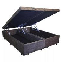Base Box Baú Queen Bipartido Click House Suede Marrom 44x158x198 -