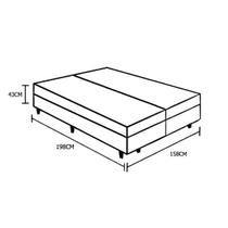 Base Box Baú Queen Bipartido Crisle Suede Preto 43x158x198 -