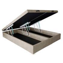 Base Box Baú Queen Bipartido Santo Box Suede Bege 47x158x198 -