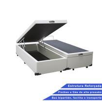 Base Box Baú Queen Bipartido Sintético Branco 32x158x198 - Outlet Sofás E Colchões