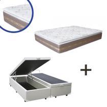 Base Box Baú Queen Bipartido Sintético Branco 37x158x198 + Colchão Coimbra Molas Ensacadas Umaflex 33x158x198 -