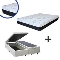 Base Box Baú Queen Bipartido Sintético Branco 37x158x198 + Colchão Veneza Molas Ensacadas Umaflex 24x158x198 -