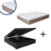 Base Box Baú Queen Bipartido Sintético Preto 37x158x198 + Colchão Coimbra Molas Ensacadas Umaflex 33x158x198 -