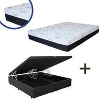Base Box Baú Queen Bipartido Sintético Preto 37x158x198 + Colchão Veneza Molas Ensacadas Umaflex 24x158x198 -