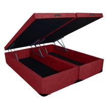 Base Box Baú Queen Bipartido SP Móveis Suede Vinho - 45x158x198 -